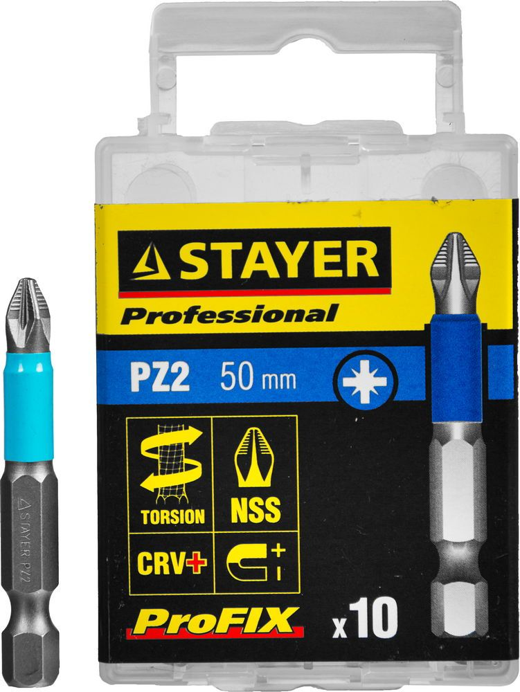 "Биты STAYER ""PROFESSIONAL"" ProFix Pozidriv, тип хвостовика E 1/4"", № 2, L=50мм, 10шт"