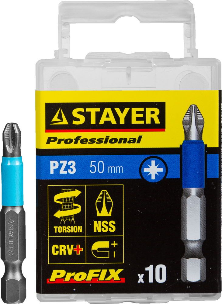 "Биты STAYER ""PROFESSIONAL"" ProFix Pozidriv, тип хвостовика E 1/4"", № 3, L=50мм, 10шт"