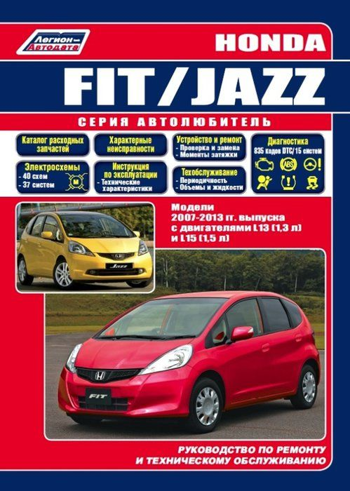 Honda Fit, Jazz с 2007-2013 Книга, руководство по ремонту и эксплуатации.